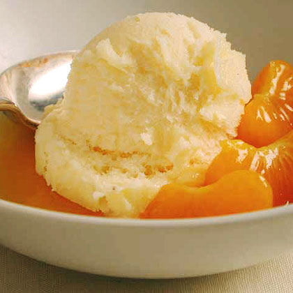 White Chocolate Sorbet with Warm Clementine Sauce