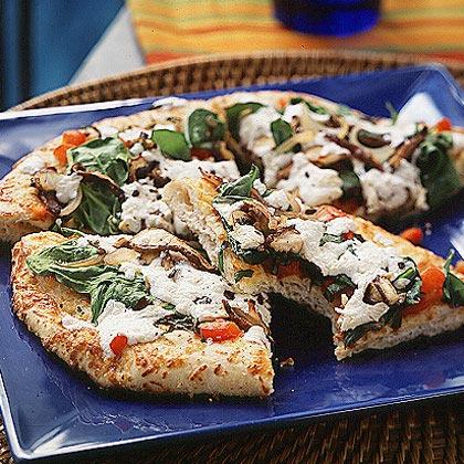 Mini Red Pepper-Mushroom Pizza Recipe