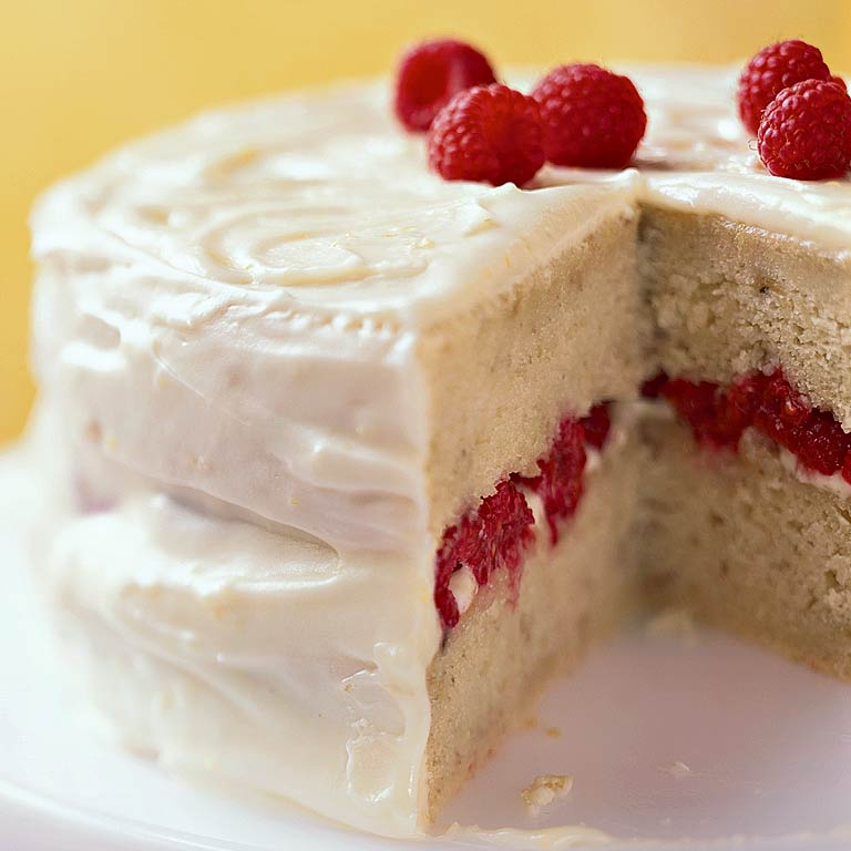 Banana-Raspberry Cake with Lemon Frosting