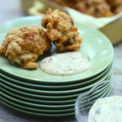 Crawfish-Eggplant Beignets with Remoulade Sauce Recipe