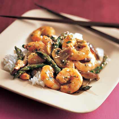 Shrimp and Asparagus with Ginger-Sesame Sauce