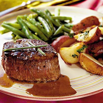 Steaks with Caramel-Brandy Sauce