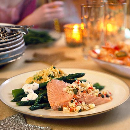 Cold Poached Salmon with Fennel-Pepper Relish Recipe