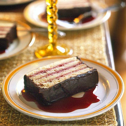 Raspberry-Almond Torte with Chocolate Ganache RecipeIf you want to be a big hit at your next dinner party, serve this tender layered cake filled with preserves and covered in a rich chocolate icing.