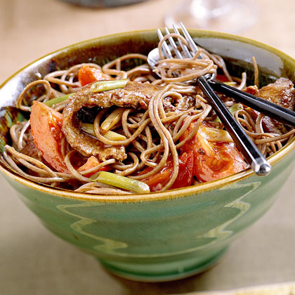 Soba with Marinated Beef and TomatoesRecipe