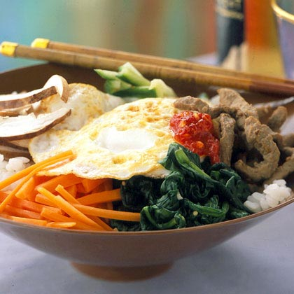 Bibimbop (Rice and Vegetable Medley)Recipe