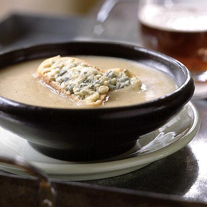 Roasted Garlic and Shallot Potato Soup with Cheesy Croutons