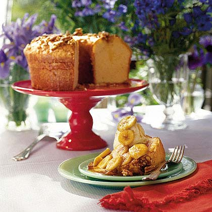 Buttered Rum Pound Cake with Bananas Foster SauceRecipe