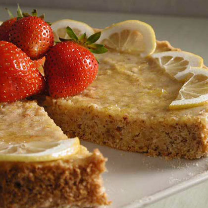 Almond-Lemon Torte RecipeGround almonds add nutty richness to the cake as well as filling it with disease-fighting nutrients. What better way to improve your health than to eat a lemony-sweet dessert?