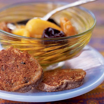 Passover Chremslach with Mixed Fruit Compote