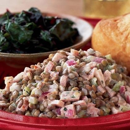 Warm Lentil-Ham Salad with Dijon Cream