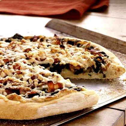 Spinach, Caramelized Onion, and Bacon Pizza Recipe | MyRecipes