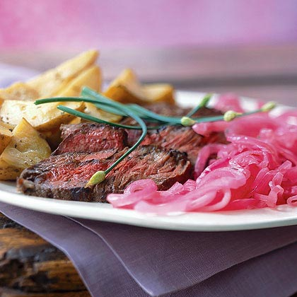 Shallot-Rubbed Steak with Roasted Potatoes and Pickled OnionsRecipe