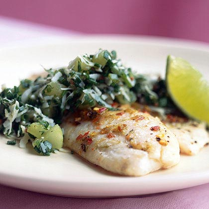 Tilapia with Coconut, Mint, and Chive Relish Recipe