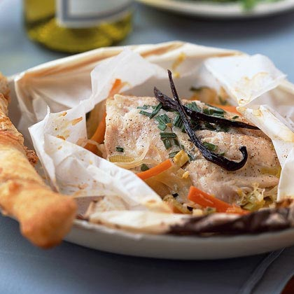 Fish in Paper Parcels with Leeks, Fennel, Chives, and Vanilla