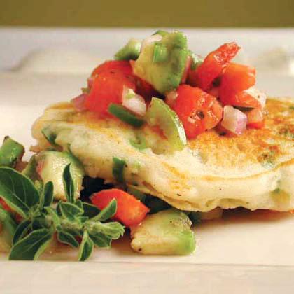 Green Onion Pancakes with Tomato-Avocado Salsa Recipe