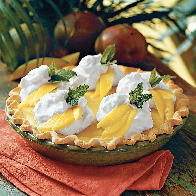 Mango Cream Pie                            RecipeMango nectar and fresh mango slices provide a taste of tropical paradise in every bite of this silky pie.