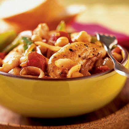 Italian Chicken with Chickpeas RecipeThis rustic meal is cooked in one skillet in about 20 minutes, making it ideal for a quick weeknight dinner. Pantry items such as canned tomatoes, canned chickpeas and bottled minced garlic keep the preparation simple.