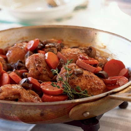 Quick Coq au Vin RecipeCooking uncovered over high heat, the liquid reduces and concentrates its flavors in a fraction of the time required for the traditional long-simmered dish.