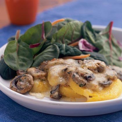 Polenta Gratin with Mushrooms and Fontina Recipe