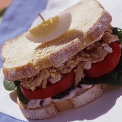 Tuna Niçoise Sandwiches with Olive Mayonnaise