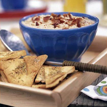 White Bean and Bacon Dip with Rosemary Pita ChipsRecipe