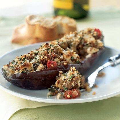 Greek-Style Stuffed Eggplant