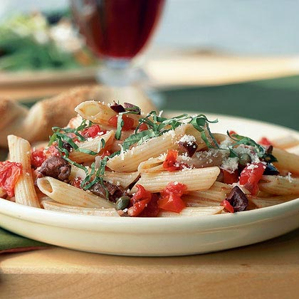 Penne with Tomatoes, Olives, and Capers