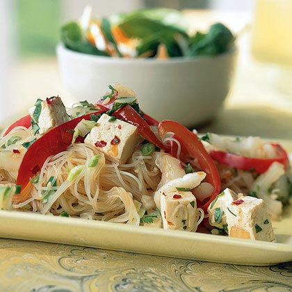 Rice Noodles with Tofu and Bok Choy