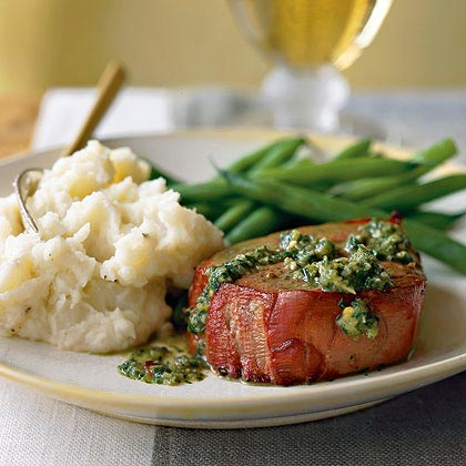 Argentinean Oak-Planked Beef Tenderloin with Chimichurri SauceRecipe