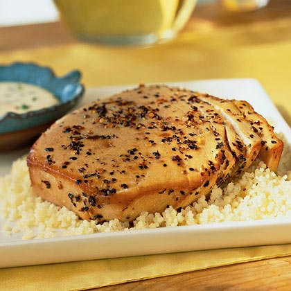 Oak-Planked Peppercorn Tuna Steaks with Orange Mayonnaise