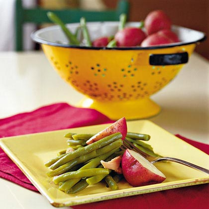how to make fresh green beans and red potatoes