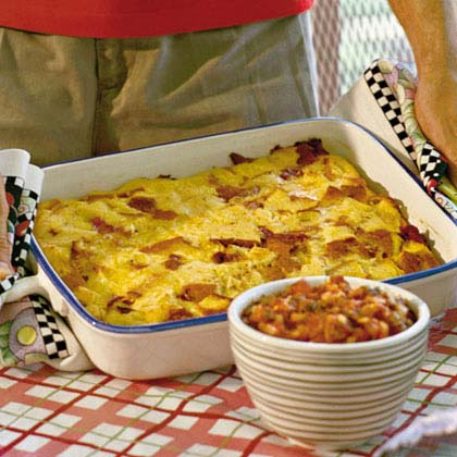 Bacon-and-Egg Casserole RecipeSalty bacon is perfectly complemented by sweet Hawaiian bread in this classic breakfast casserole.
