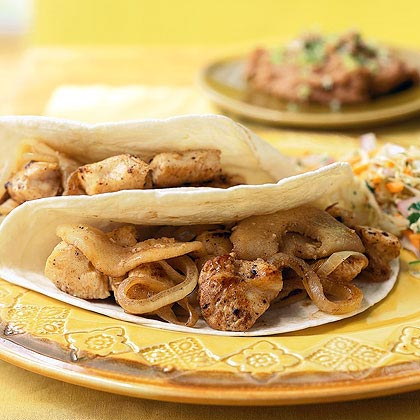 Chicken Soft Tacos with Sautéed Onions and Apples