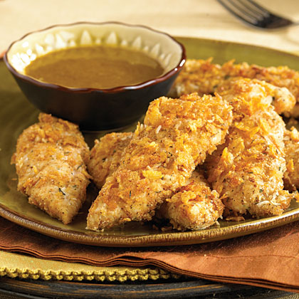 Oven  Fried  Chicken Fingers with Honey-Mustard Dipping Sauce