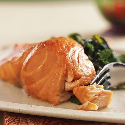 Sherry-Glazed Salmon with Collard Greens