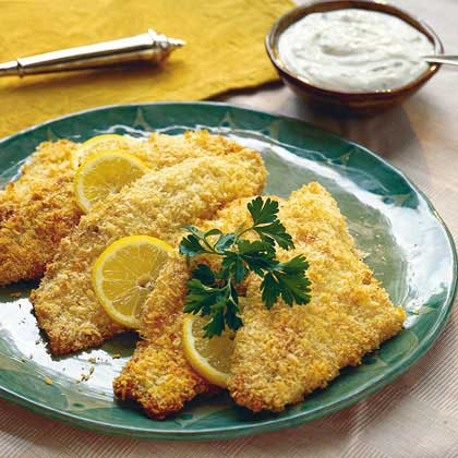 "Spicy ""Fried"" Catfish with Lemon Cream"