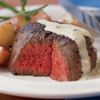 Beef Tenderloin with Mustard-Tarragon Cream Sauce
