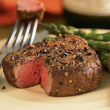 Spiced Pepper-Crusted Filet Mignon with AsparagusRecipe