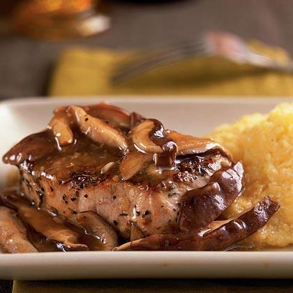 Herbed Pork with Sautéed Wild Mushrooms Recipe