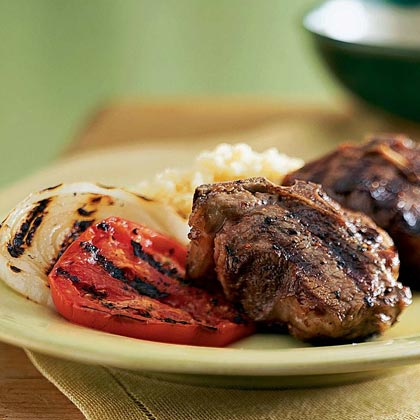 Grilled Lamb Chops with Tomato and Onion