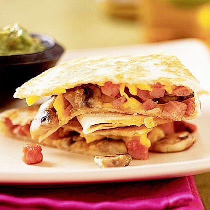 Ham and Mushroom Quesadillas Recipe