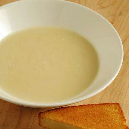 Apple Soup with Pound Cake Croutons
