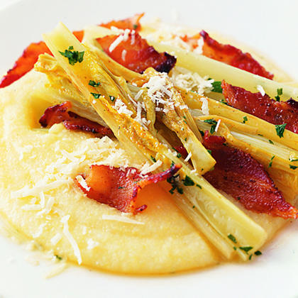 Braised Celery with Parmesan Polenta