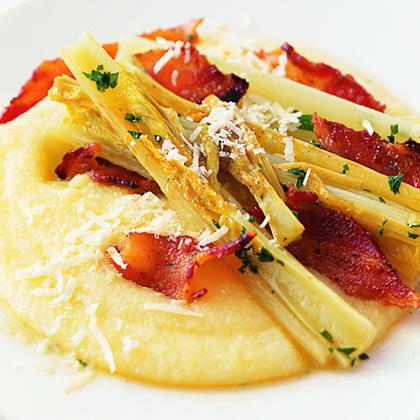 Braised Celery with Parmesan Polenta