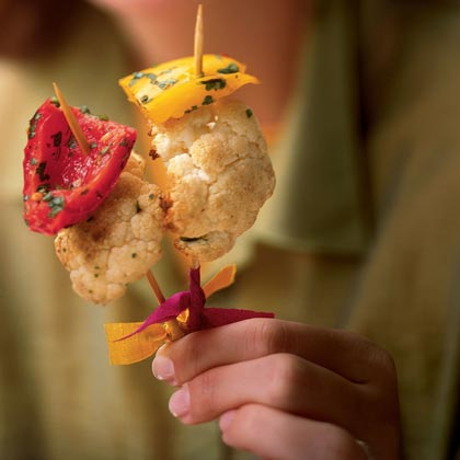 Roasted Cauliflower Skewers with Sweet Peppers and Cumin Recipe