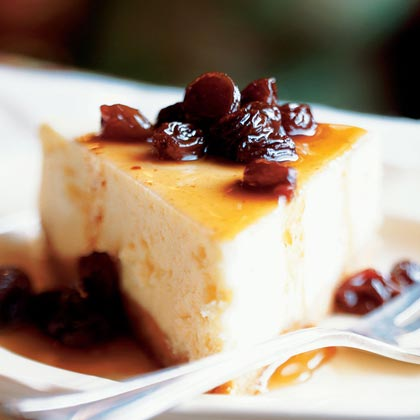Vanilla Cheesecake with Rum Raisin Syrup