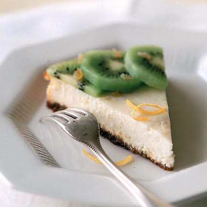 Ricotta Cheesecake with Ginger and Kiwi Recipe