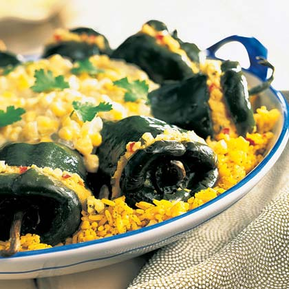 Chilies with Corn Tamale Filling