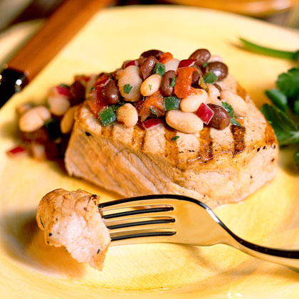 Pork Chops With Black-And-White Salsa Recipe